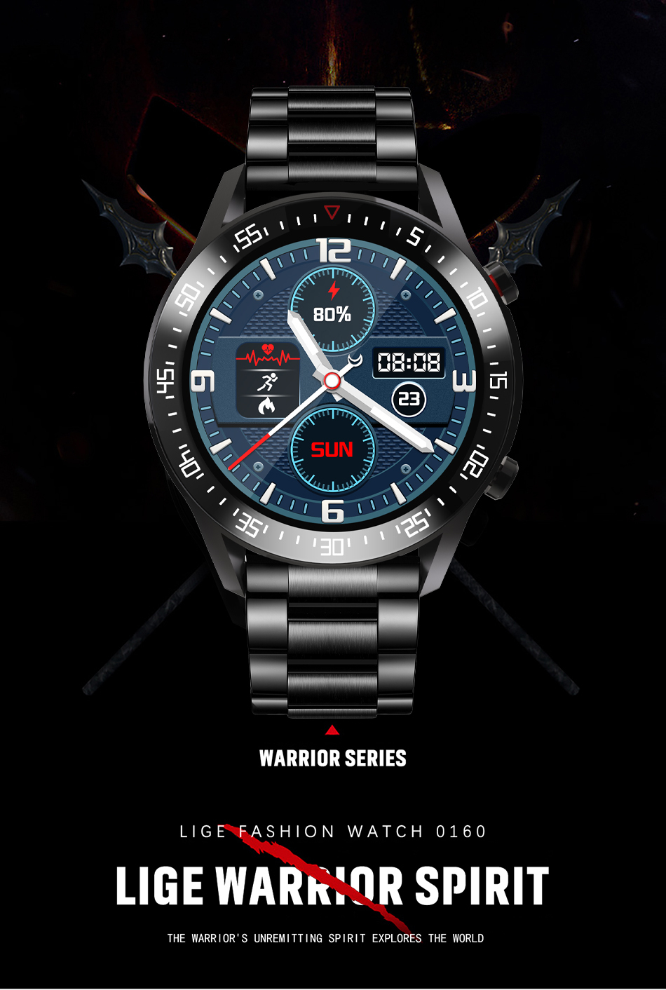 H41f9a2c97bea4510bd7b131531583b97X LIGE New Smart watch Men Full touch Screen Sports Fitness watch IP68 waterproof Bluetooth Suitable For Android ios Smart watch