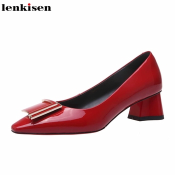 Lenkisen 2020 hot saling all-match full grain leather solid color square toe slip on med thick heels star young lady pumps L80