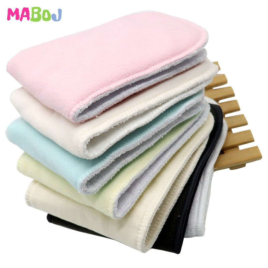 MABOJ Cloth Diaper Inserts 4pcs Reusable Washable Pocket Cloth Nappy Diaper Microfibre Cotton Bamboo Charcoal Breathable Insert