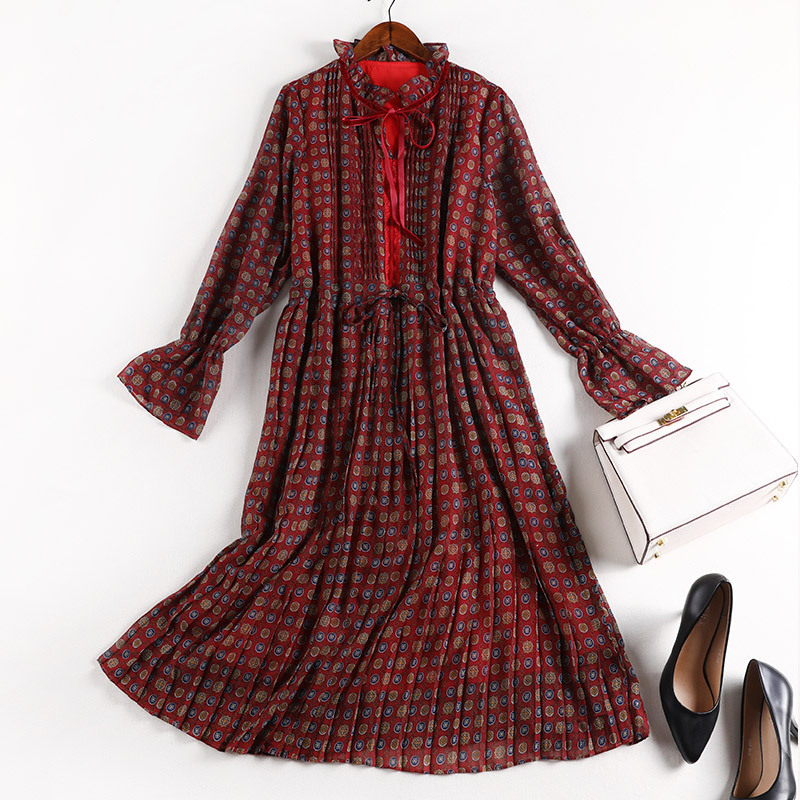 Lan Mu Square Dress Large Size Dress 2019 New Style Autumn Clothing Waist Hugging Slimming Skirt Large GIRL'S Size Belly Coverin