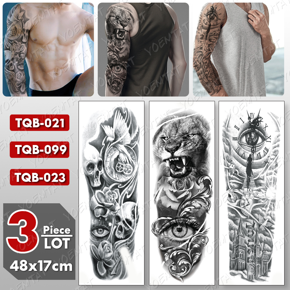 3 pcs/lot Large Arm Sleeve Tattoo Lion Eye Waterproof Temporary Tatto Sticker Pigeon Clock Body Art Full Fake Tatoo Women Men image
