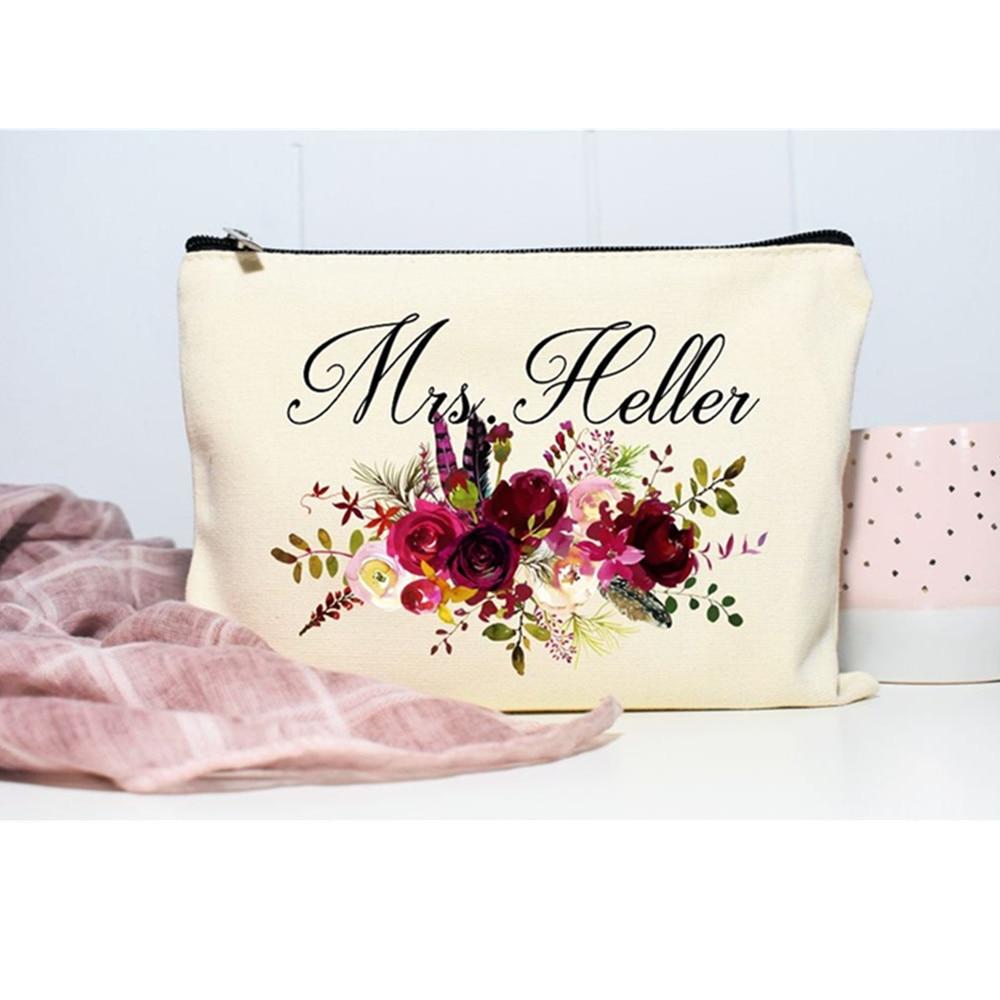 Custom burgundy floral Bride maid of honor Makeup Bag, Bridesmaid cosmetic Gift bags, bridal decor purse,bachelorette Makeup Bag