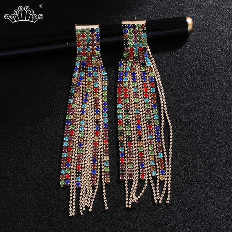 Gold Silver Color Long Crystal Tassel Dangle Earrings For Women Rhinestone Wedding Drop Earing Fashion Korean Earrings
