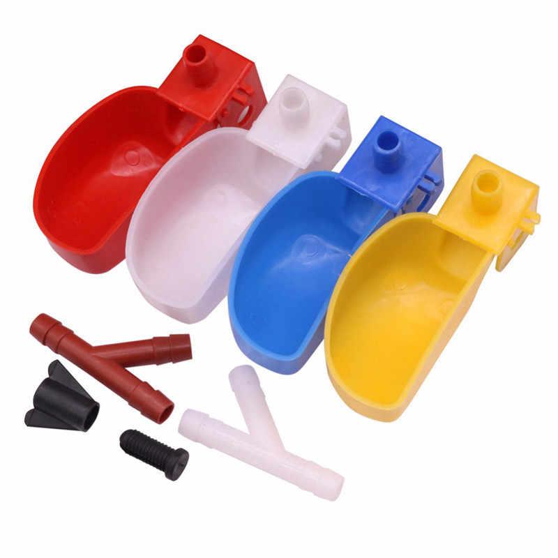 Suprimentos de alimentação de aves 1 pçs/lote codorna água potável multicolorido codorna bacia de água plástico material plástico t parafuso porca quai