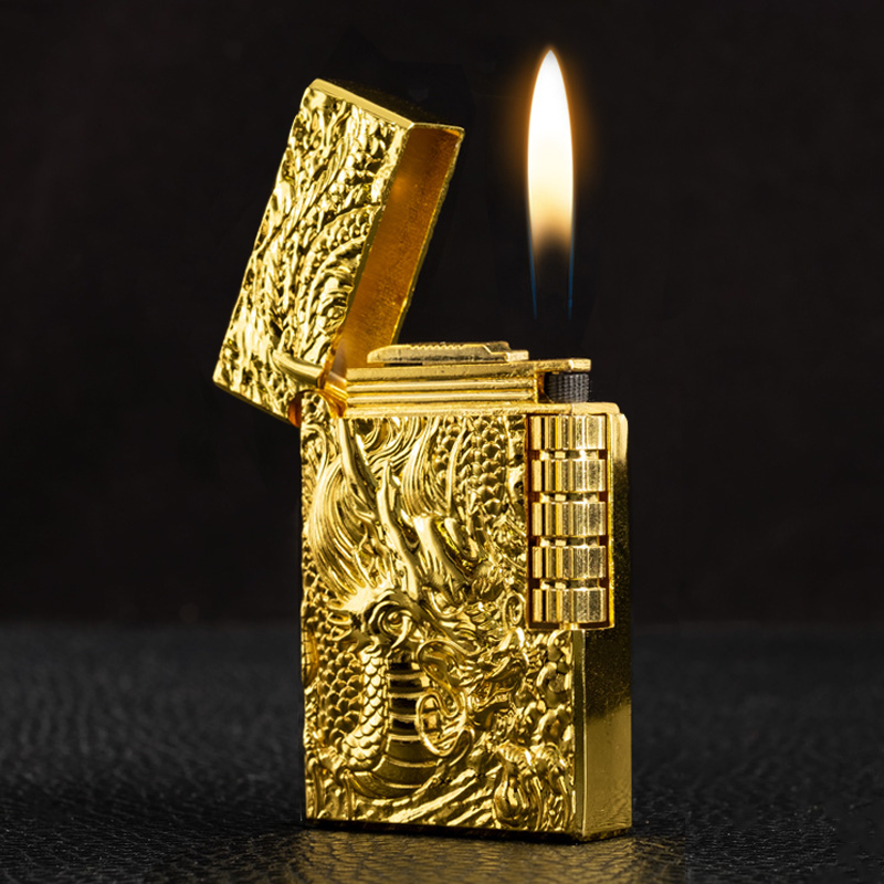Ultra Thin Metal Vintage Embossed Lighter Grinding Gold Dragon  Free Fire Wheel Turbo Flint Gas Lighter Butane Windproof Cigar Cigarette Lighters Smoking Accessories Gadgets For Men Creative Portable Outdoor