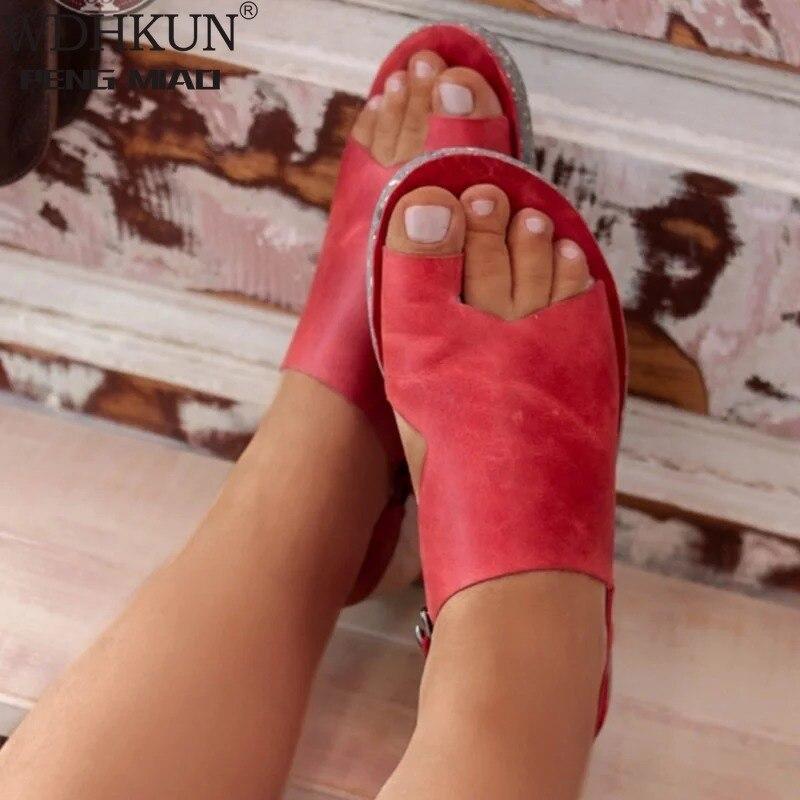 WDHKUN Women Summer Sandals Flats Casual Single Shoes Woman Vintage PU Leather Flip Thong Flat Sandalias Mujer Sapato Feminino E