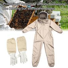 Профессиональный полноразмерный костюм для пчеловодства с кожаными перчатками кофейного цвета предотвращает контакт противовирусный без...