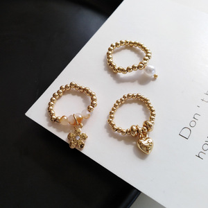 Fashion Trendy Korean Handmade Small Flowers Love Heart Rice Beaded Ring For Women Girl Jewelry Stretch Weave Style Rings