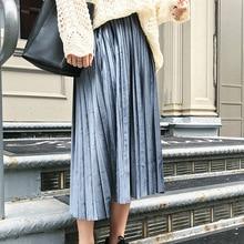 Mùa Xuân, Mùa Thu 2020 Màu Kim Loại Lớn Váy Xếp Ly Nữ Mẫu Hoang Dã Lưng Thun Sáng Bóng Nhung Rời Size Lớn 6XL Váy