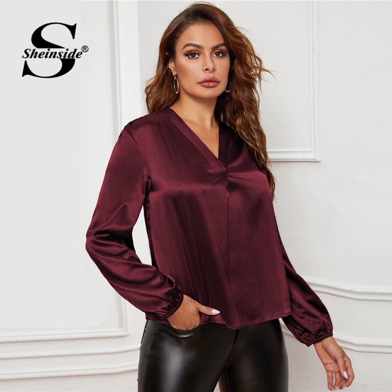 Image 5 - Sheinside Elegant Burgundy V Neck Satin Blouse Women 2020 Spring  Lantern Sleeve Blouses Ladies Solid Minimalist TopBlouses