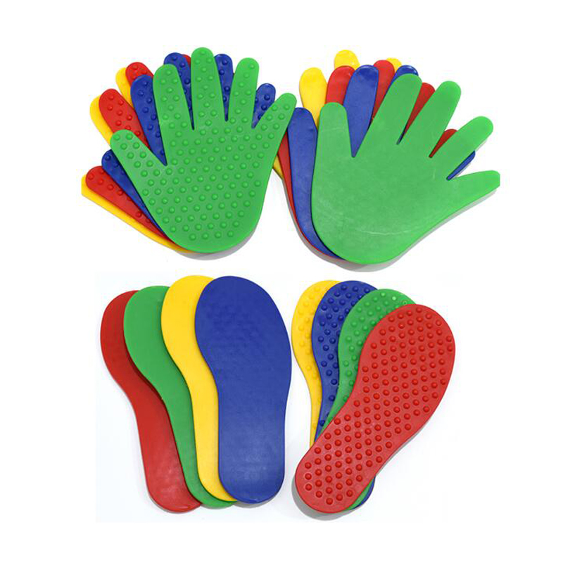 4Pair Children Hand And Foot Print Tactile Toy Kindergarden Baby Jump Sensory Integration Games For Kids Activities