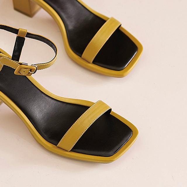 Donna in Square Toe Women heeled sandals Sexy Party Dress Summer Genuine Leather Shoes Female Block