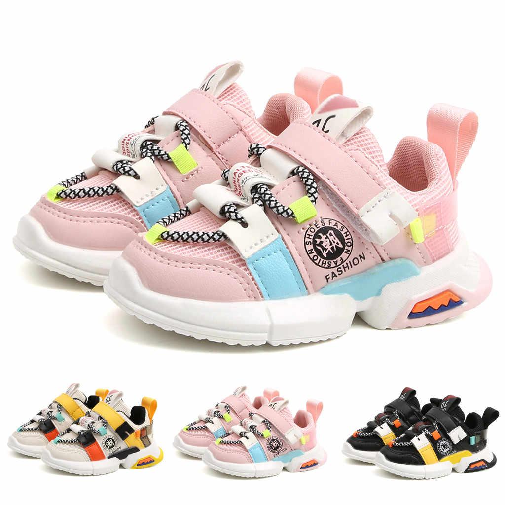 2019 Kış Moda Çocuk Bebek Kız Erkek Koşu rahat ayakkabılar Yumuşak Taban Örgü Spor Çalışma gündelik ayakkabı spor ayakkabılar Çocuklar Için