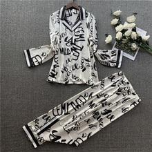 2020 Fashion Silk Pijama Women Pyjama Long Sleeve Women Pajamas Sets Cute Print Satin Women Sleepwea