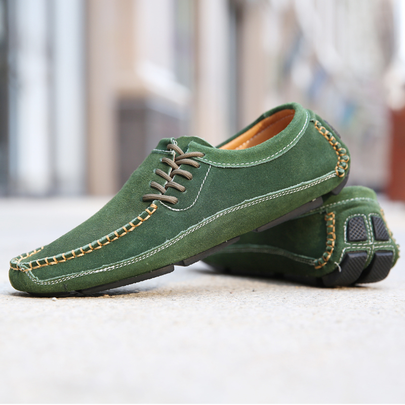Promo Spring Loafers Shoes Men Green Driving Moccasin Mens Large Size Flats Men Shoes Comfortable Casual Men Sneakers Rubber Man Shoes