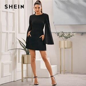 Image 3 - SHEIN rękaw dzwonek kieszeń boczna sukienka bez paska kobiety jesień solidna O neck krótkie dopasowane eleganckie sukienki Highstreet