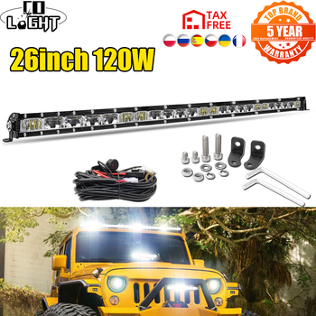 CO LIGHT Slim 26inch 120W Led Light Bar Spot Flood Work Light 12D Led bar 4x4 Truck ATV Car Roof Offroad Driving Led Bar 12V 24V co light 12d 3 row car led light bar combo 32 405w led work light for tractor truck atv jeep led bar offroad auto driving light