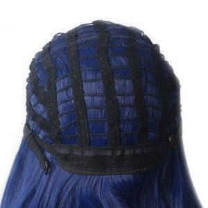 Image 5 - WoodFestival kadın donanma mavi sentetik kahküllü peruk uzun düz isıya dayanıklı Cosplay peruk kadınlar için