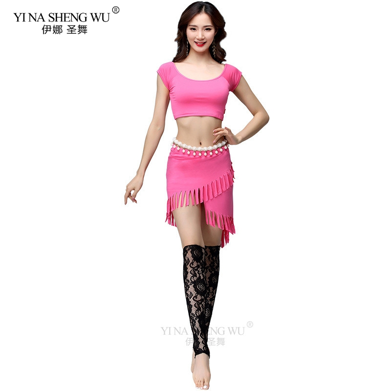 Women Belly Dance Practice Costume Set Modal Dancewear Short Sleeve Top Irregular Short Skirt Women Dance 2pcs Set New Arrival