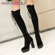 Купить с кэшбэком ANNYMOLI Winter Over the Knee Boots Women Genuine Leather Platform Thick Heel Long Boots Zip Super High Heel Shoes Lady Size 42