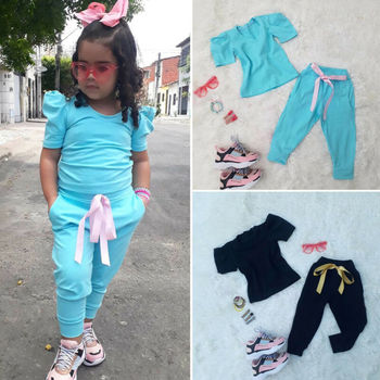 CANIS Summer Kids Baby Girl Solid Color Short Sleeve Tops+Bowknot Pants Leggings 2PCS Clothes Tracksuit canis xl