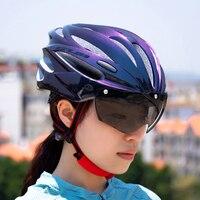 NEWBOLER Radfahren Helm Objektiv Mit Visier Magnetische Brille Integral geformten 58-62cm für Männer Frauen MTB Road fahrrad Fahrrad Helm