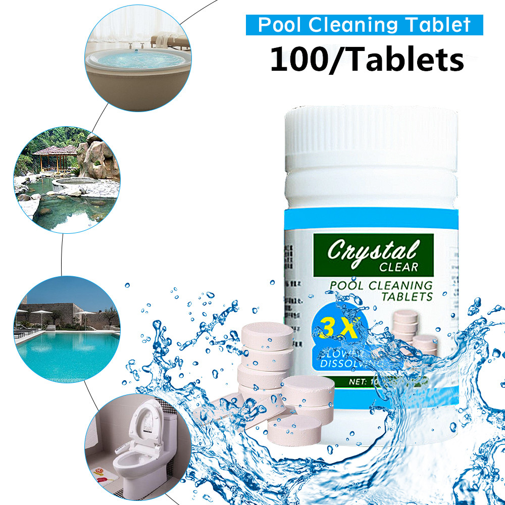 100pcs/ Bottle Pool Cleaning Effervescent Chlorine Tablets Cage Disonfectant Swimming Pool Clarifier Chemical Floater Cleaner