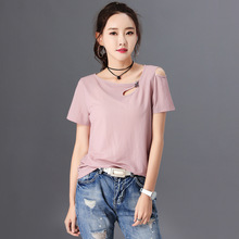 2020 Summer New Short-Sleeved T-shirt Women Loose Bottoming Shirt T-shirt Women's Exposed Shoulder Tops Wholesale AE0026
