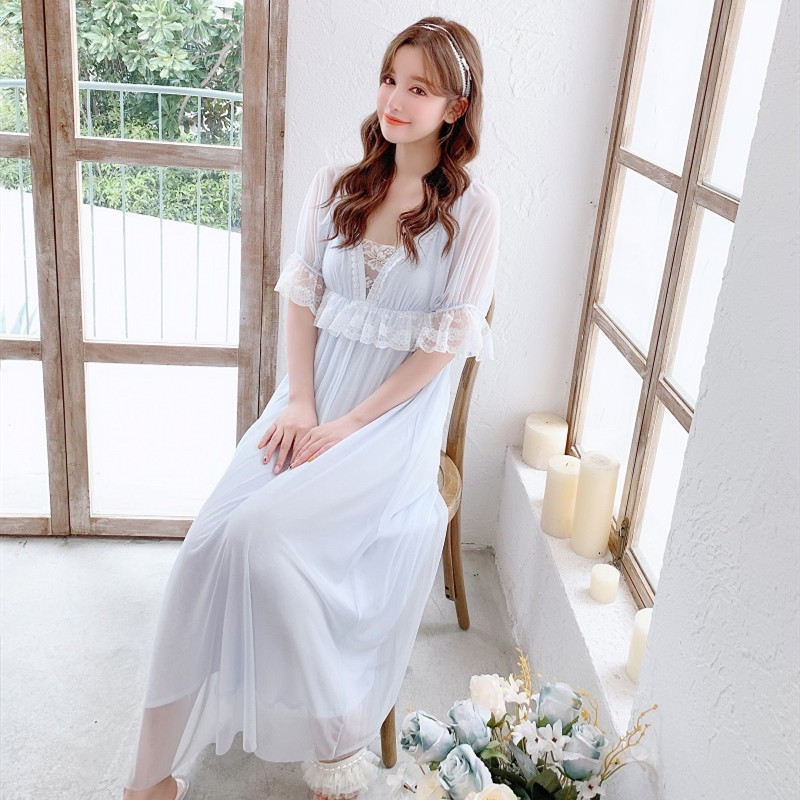 Summer Modal Short Sleeve Women's Long Nightgowns Vintage Lace Princess Soft Gauze Sexy Sleepwear Blue /White /Pink Long Dress