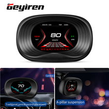 Geyiren P20 GPS+OBD2 Mirror HUD Car Head up display Better than Speed Projector Security Alarm Time Overspeed Voltage