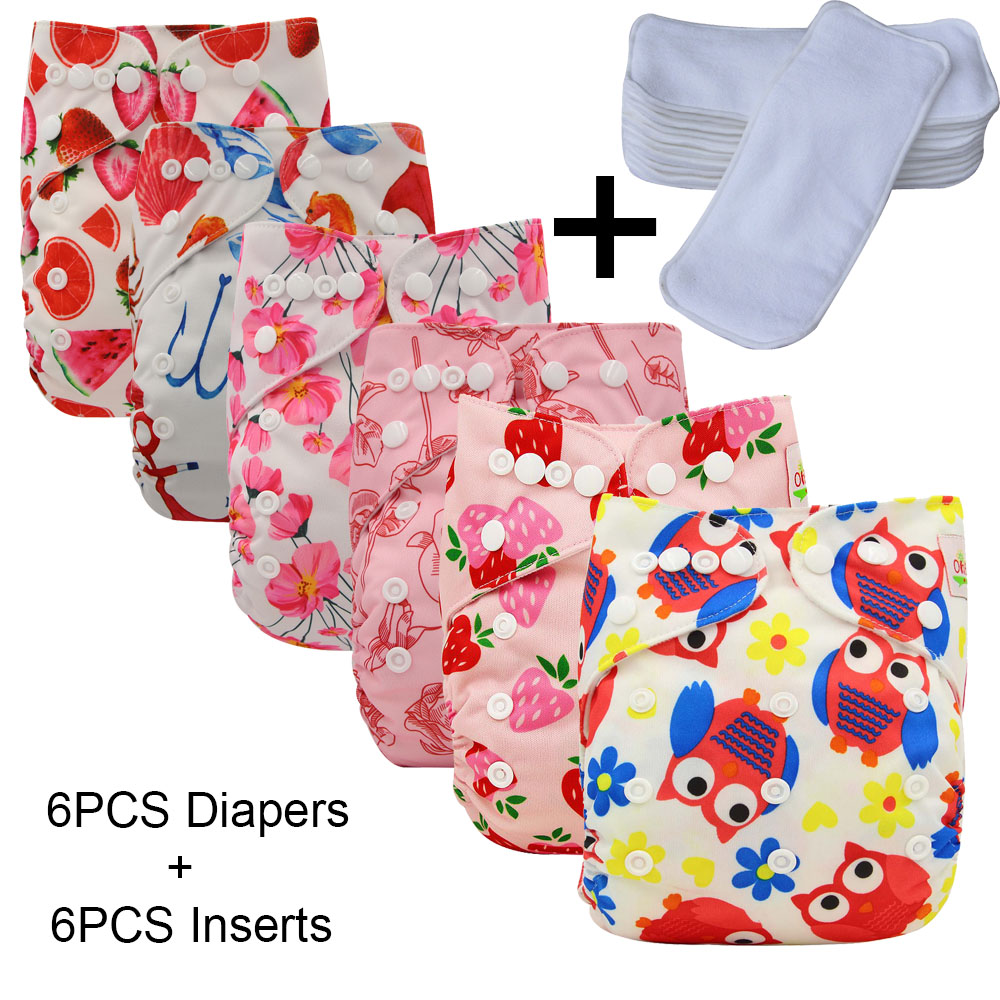 Ohbabyka 12PCS/SET Pocket Cloth Diaper Adjustable Baby Diaper Nappies Reusable Washable 6pcs Diaper Cover+6pcs Inserts