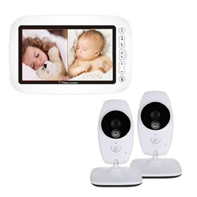 """7 """"bezprzewodowy 720P HD niania elektroniczna Baby Monitor z dwoma aparat cyfrowy IR Night Vision domofon niania elektroniczna niania niania elektroniczna Baby Monitor obsługuje podzielony ekran"""