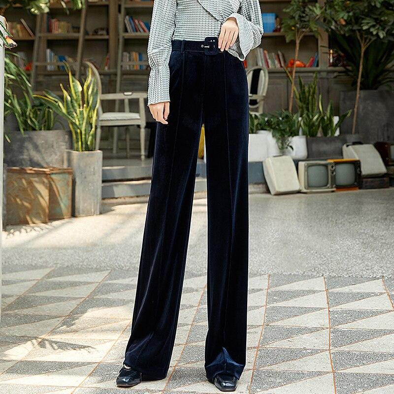 Pleuche   Wide     Leg     Pants   Women High Waist Trousers Fall Winter 2019 New Loose Casual Straight Full Length Plus Size Trousers Women