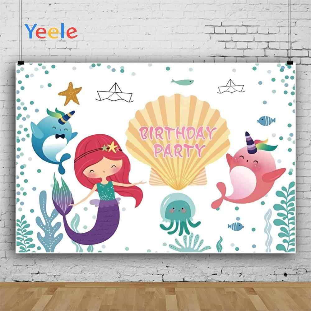 Yeele Unicorn Mermaid Birthday Photocall Undersea Photography Backdrops Personalized Photographic Backgrounds For Photo Studio