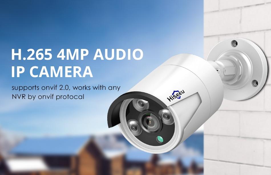 H41fb69ea39574fb1b520f176cc50e04dE Hiseeu H.265 Audio Security IP Camera POE 4MP ONVIF Outdoor Waterproof IP66 CCTV Camera P2P Video Surveillance Home for POE NVR