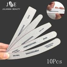 10PCS/lot Nail File 80/80 nail Sanding buffer Black/Grey Curve Banana Nail art File Manicure Pedicure Nail Tools lime a ongle