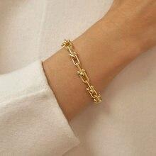XIYANIKE 925 srebro w kształcie litery U połączona bransoletka INS Hip-hop Punk gruby łańcuch bransoletka biżuteria z wiszącą ozdobą kobiet prezent dla par