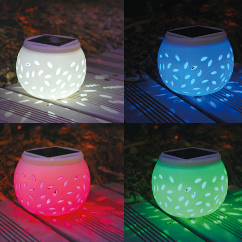Outdoor Garden Walkway Terrace Decoration Solar Lamp Led Light Colorful Hollow Out Ceramic Lamp Waterproof Outdoor Led Light