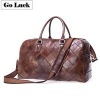 GO LUCK Brand Genuine Leather Travel Top handle Pack Duffle Unisex Handbag Cross Body Shoulder Bag Messenger Bags Men&Women
