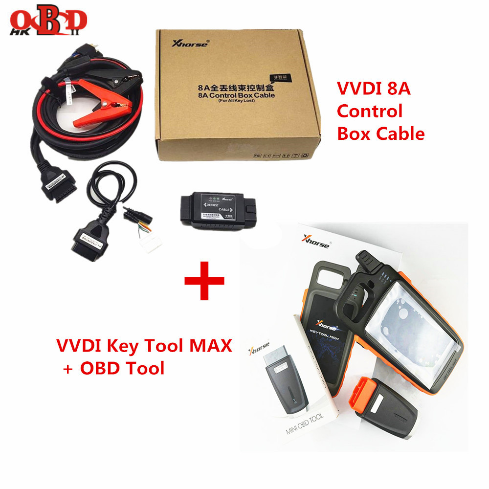 Xhorse VVDI Key Tool MAX Bluetooth Remote Key Programmer With XT27 Super Transponder Chip 8A Control Box Cable for All Key Lost