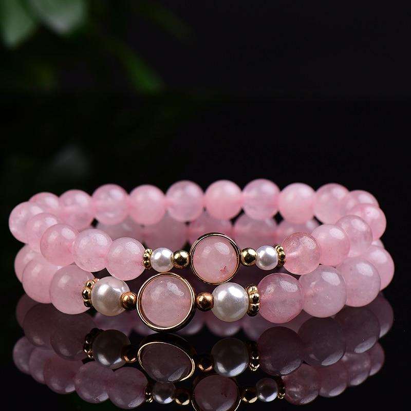 Модные Простые из натурального розового кварца ручной работы из бисера полированный Исцеление камень с теплой энергией для женщин увеличи...