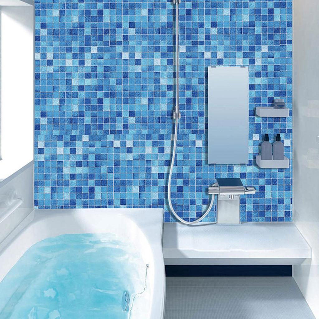 Blue Modern Mosaic Self Adhesive Wallpaper Roll For Bathroom Kitchen Door Furniture Pvc Waterproof Film Patch Wall Sticker#p7