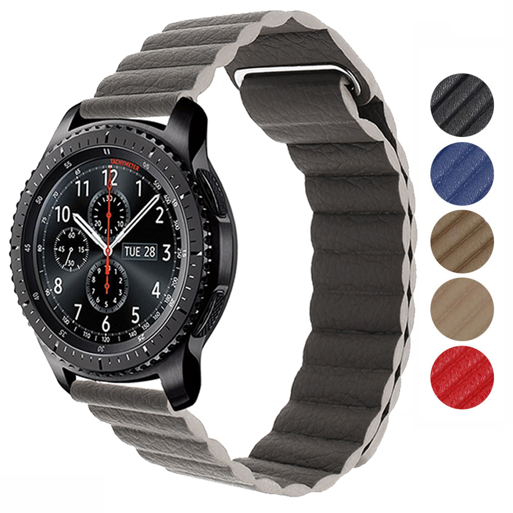 20mm 22mm Magnetic Leather Strap For Amazfit Samsung Galaxy Gear S3 Galaxy 42 46mm Active Watch Band Strap Quickfit Bracelet