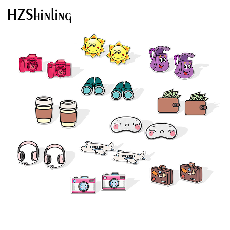 2019 New Interesting Travel Resin Earrings Airplane Compass Camera Map Acrylic Earrings Gilfts Epoxy Stud Earring