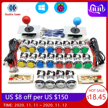 Zero Delay Arcade cabinet DIY kit for 5V LED chrome push button copy SANWA Joystick 1 & 2 player COIN USB to PC / Raspberry Pi