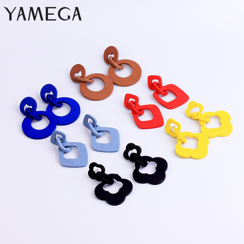 Fashion Korean Red Wooden Earrings for Women Dangle Geometric Yellow Trendy Jewelry Drop Statement Party Ladies Damgle Earring