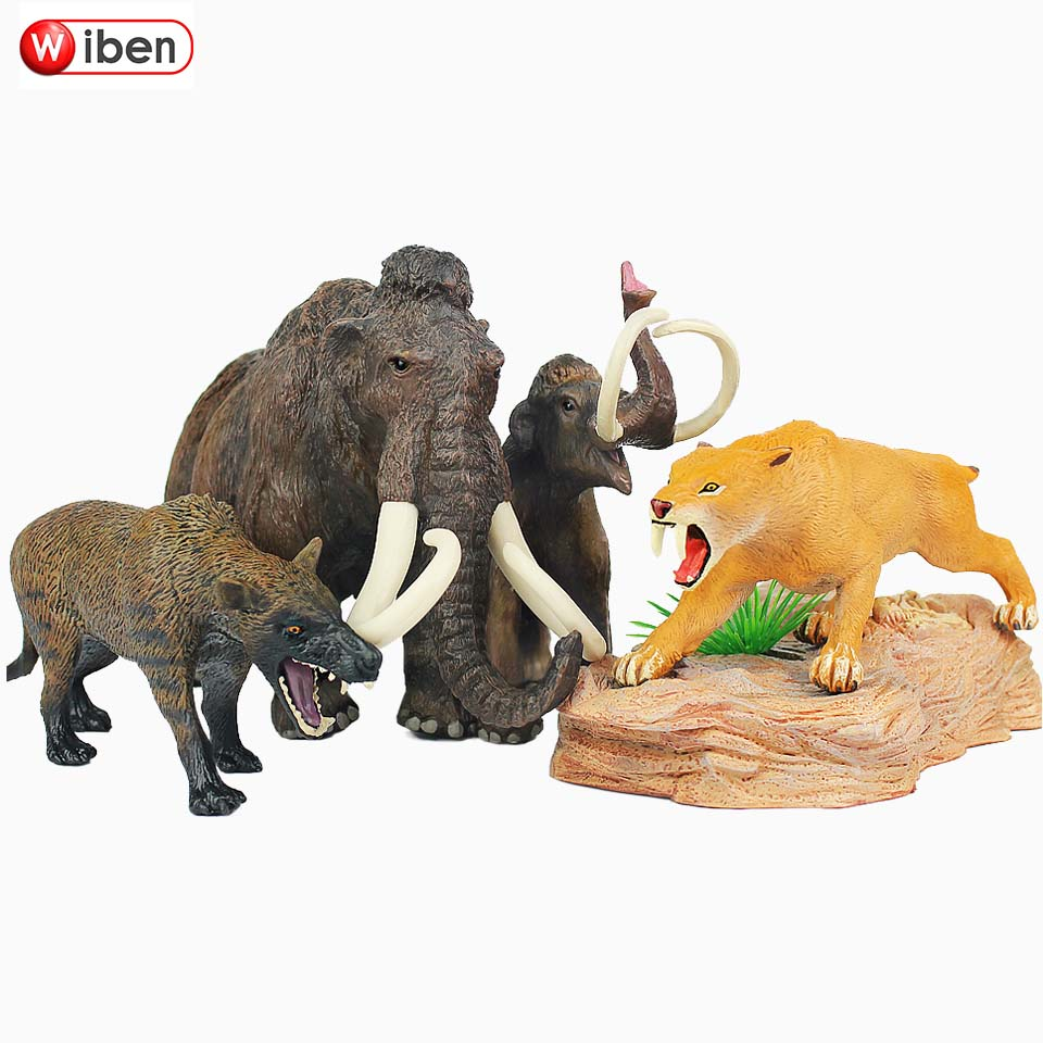 Wiben Mammoth Sabre Wulf Canis Dirus Simulation Animal Model Plastic Action & Toy Figures Educational Gift For Kids Collection