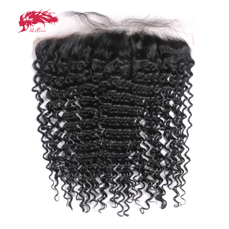 Ali Queen Hair Deep Wave Brazilian Virgin Human Hair Lace Frontal Natural Color 10