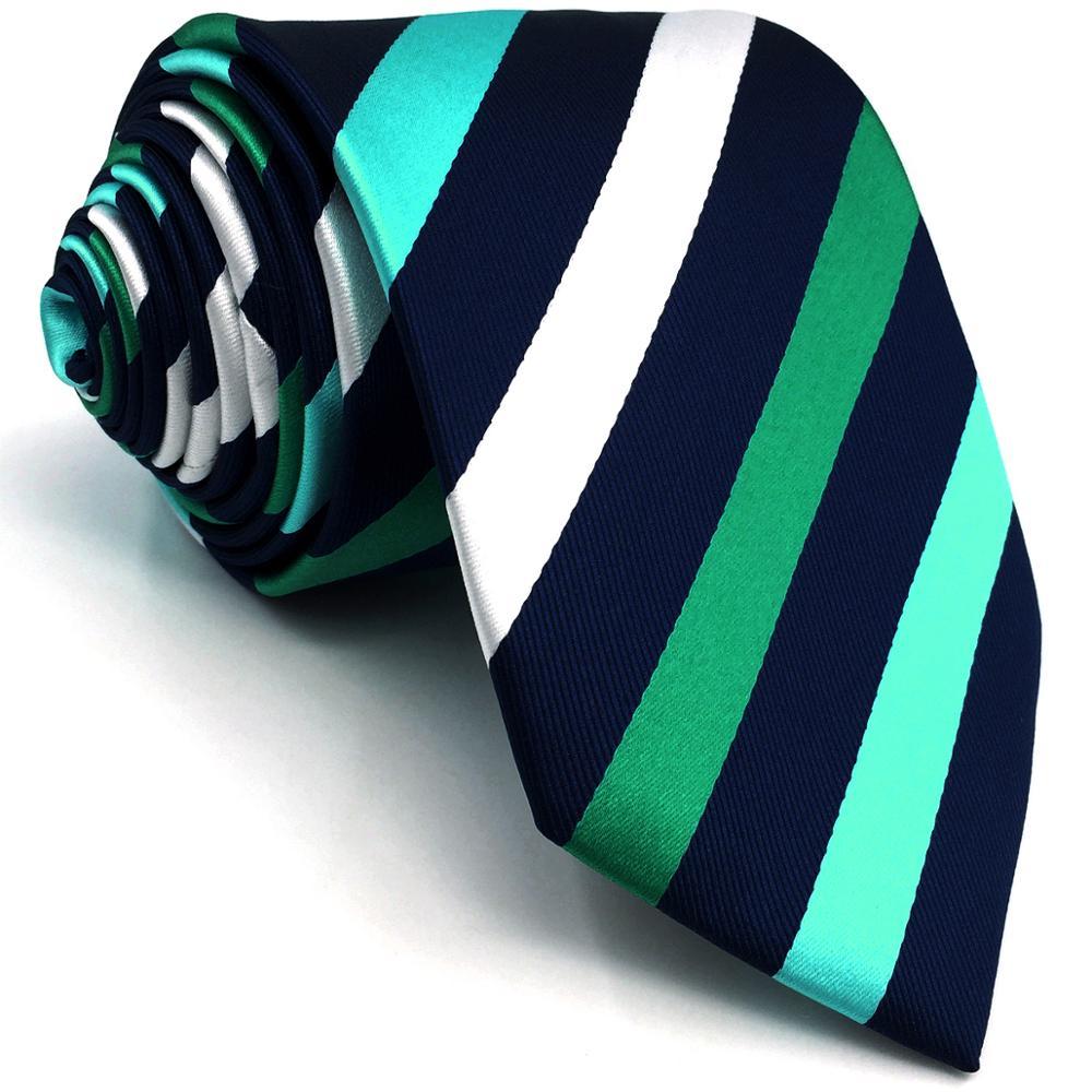 E35 Blue Green Stripes Mens Ties Wedding Silk Ties For Men Extra Long Slim Tie