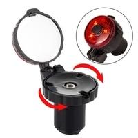 Espelhos retrovisores de bicicleta 360 ° ajustável bicicleta guiador espelho de vidro resistente à explosão lente segura bicicleta espelho com luz de advertência|Espelhos de bicicleta| |  -